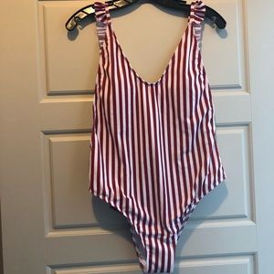 Striped One Peice Bathing Suit